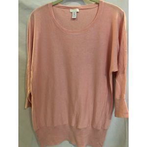 Chicos Sweater Soft Pink Scoop Neck Size 2